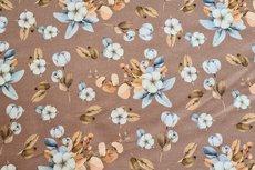 Cotton Jersey Digital Vintage Flowers Caramel