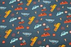 Cotton Jersey Traffic Cars Navy
