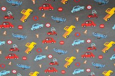 Cotton Jersey Traffic Cars Grey