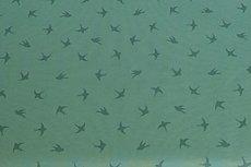 Cotton Jersey Birds Old Green