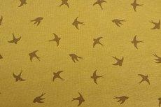 Cotton Jersey Birds Oker