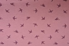 Cotton Jersey Birds Old Pink