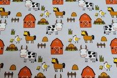 Cotton Jersey Farm Animals Light Grey