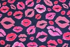 Cotton Jersey Glitter Lips Navy