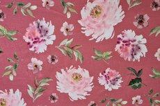 Cotton Jersey Digital Flowers Mauve
