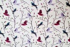 Cotton Jersey Digital Birds Off White