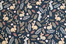 Cotton Jersey Digital Twigs & Rabbits Navy