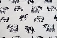 Cotton Jersey Digital Horses Off White