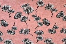 Cotton Jersey Melange Flowers Coral/Salmon