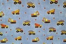 Cotton Jersey Construction Machines Light Blue Jeans