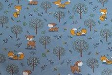 Cotton Jersey Little Fox & Bambi Light Blue