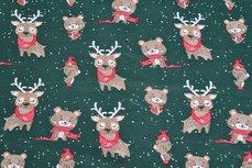 Cotton Jersey Reindeer Green