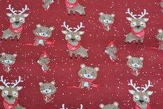 Cotton Jersey Reindeer Red