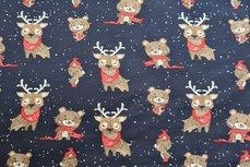 Cotton Jersey Reindeer Navy