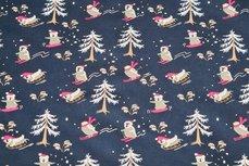 Christmas Cotton Snowfun Navy
