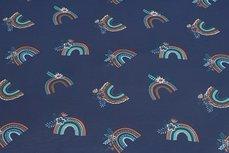 Cotton Jersey Rainbow Navy