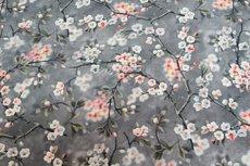 Viscose Digital Flowers Grey