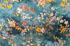 Viscose Digital Flowers Petrol