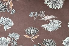 Bengaline Stretch Flowers Brown