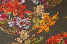 Viscose Crincle Wild Flowers Khaki