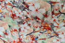 Viscose Digital Flowers Red