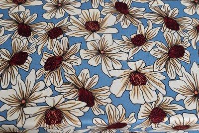 Viscose Jersey Flowers Indigo 1
