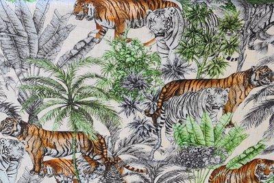 Linnen Viscose Digital Tigers Natural