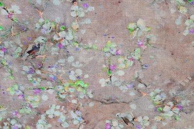 Linnen Viscose Digital Flower&Bird  Caramel