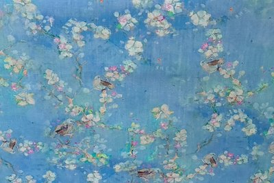 Linnen Viscose Digital Flower&Bird Light Blue