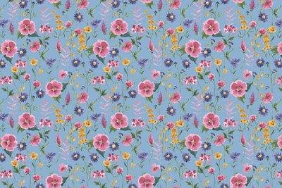 GOTS Cotton Jersey Digital Flowers Sky Blue 1