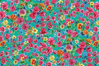 Cotton Jersey Digital Dalbir Flowers Teal