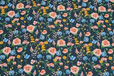 GOTS Cotton Jersey Digital Flowers Navy 1